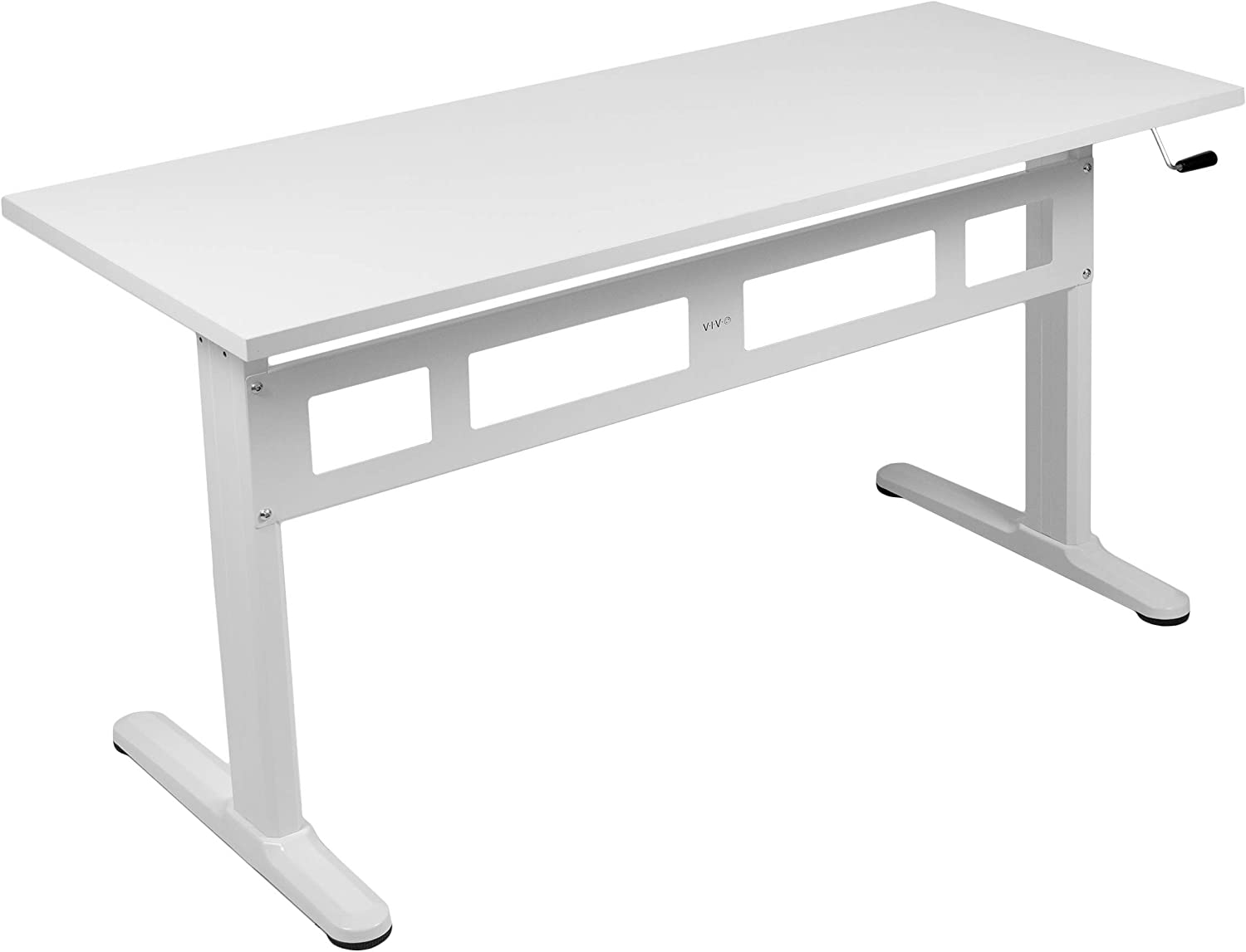 VIVO White Height Adjustable 55 x 24 inch Table Top with Legs | Complete Sit Stand Desk Workstation with Frame and Desktop (DESK-V100MW)