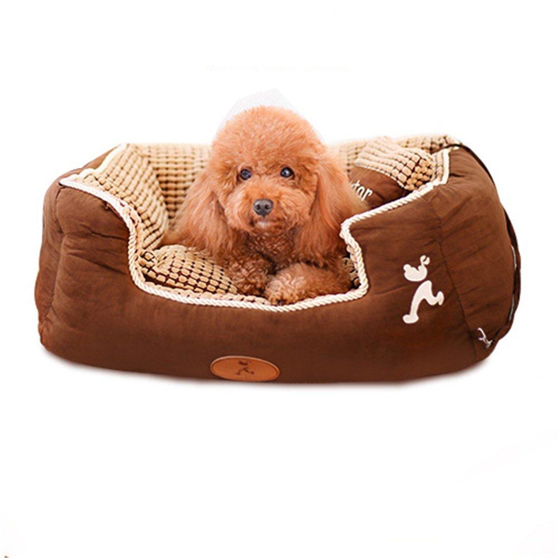 M 75x62x25CM STAZSX Dog House Washable Teddy Dog Bed Dog House Dog Summer Large Medium Small Dog Pet Supplies Four Seasons Common, Suede M  75x62x25CM