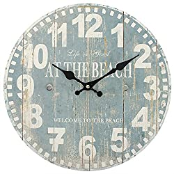 Distressed Look Blue Beach Wall Clock