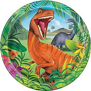 Unique Party- Platos de Papel Fiesta de Dinosaurios, 8 Unidades, Multicolor (58315)