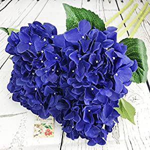 "DALAMODA Royal Blue 4 Pcs Single head big Hydrangeas flowers (7-8 Flower head) Silk Artificial Hydrangeas Flowers Stems 24"" long stem (DMC01104-Royal Blue) 40"