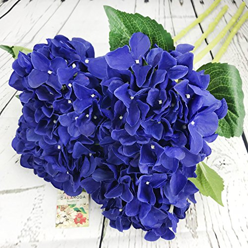 DALAMODA Royal Blue 4 Pcs Single head big Hydrangeas flowers (7-8 Flower head) Silk Artificial Hydrangeas Flowers Stems 24