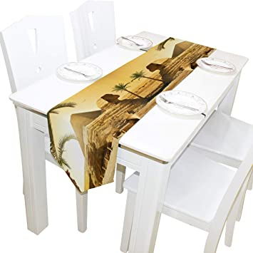 Pleasing Amazon Com Alaza Table Runner Home Decor Palms Near Sphinx Andrewgaddart Wooden Chair Designs For Living Room Andrewgaddartcom
