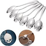 FOXAS 304 Stainless Steel Skull Sugar Spoons, Tea and Coffee Stirring Spoons for Everyday Use, Skull Designed Coffee Spoons Set of 6 - Silver (18/10 Chromium Nickel)