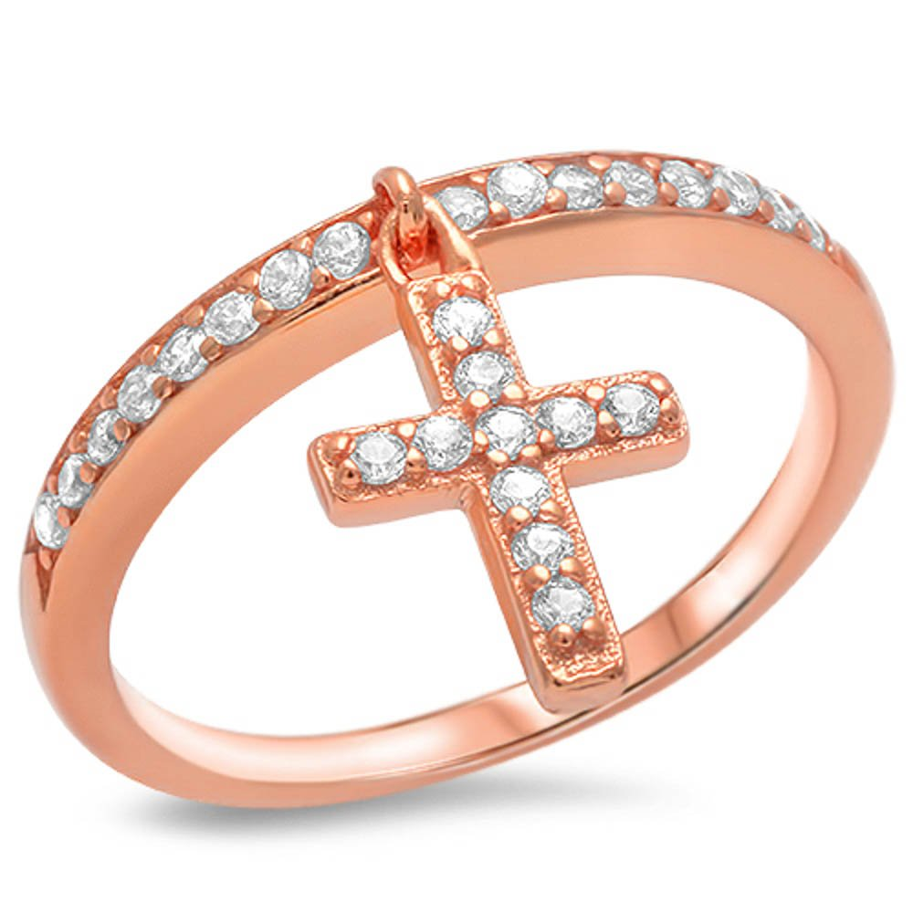 Solid Rose Gold Plated Cross .925 Sterling Silver Ring Sizes 4-10