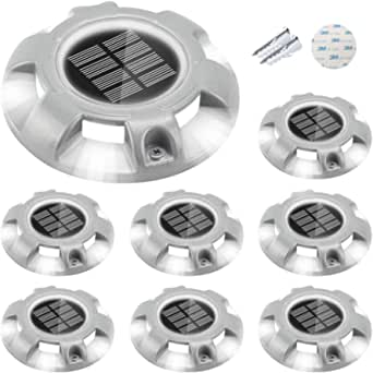 CHINLY Solar Driveway Lights LED Deck Dock Light Step Lighting Waterproof for Outdoor Pathway Garden Ground Yard Walkway Stair Markers 8pcs (White)