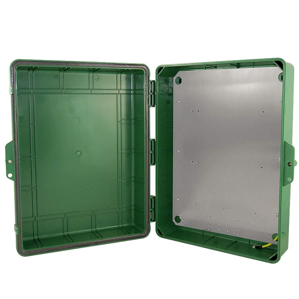Altelix Green NEMA Enclosure 17x14x6 (14'' x 9'' x 4.5'' Inside Space) Polycarbonate + ABS Tamper Resistant Weatherproof Rainproof with Aluminum Equipment Mounting Plate