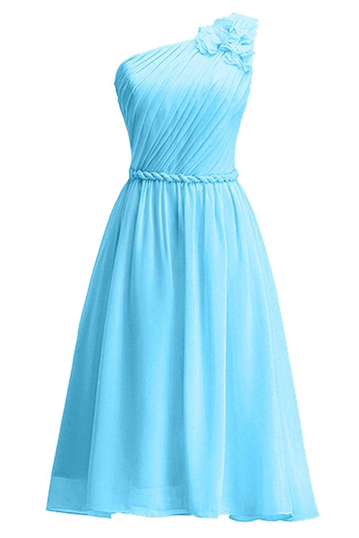 Bleu 40 femme KekeHouse® Une épaule Robe Courte de Cérémonie Soirée Demoiselle d'honneur Femme Fille d'été sans Manches