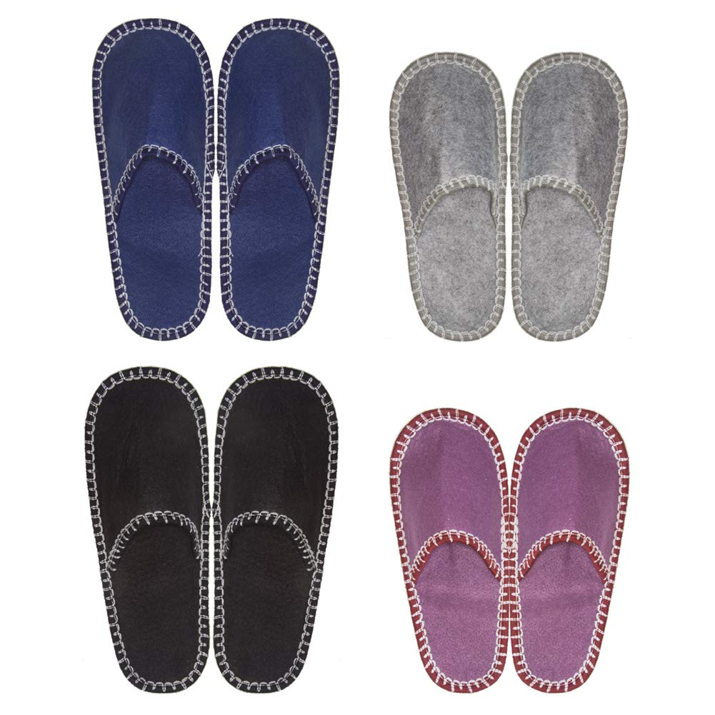 SLIPPERTREND Fleece Felt Close Toe 4 Pairs Multi Color Indoor Family House Guest Slippers