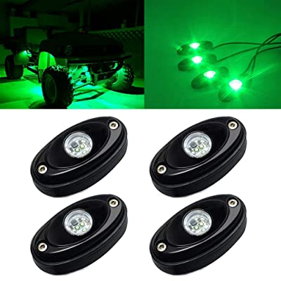 4 Pods LED Rock Light Kit for Jeep ATV SUV Offroad Car Truck Boat Underbody Glow Trail Rig Lamp Underglow LED Neon Lights Waterproof 12V 24V - Green: Automotive