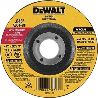 "4 1/2"" x .045"" x 5/8"" Dewalt Metal Cutting Wheel DW8424H: Type 27 Cut Off Wheel: High Performance Thin .045"" Metal Stainless Cutting 1/EA"