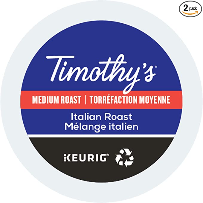 Timothys, Italian Roast, Single-Serve Keurig K-Cup Pods, Medium Roast Coffee, 48 Count (2 Boxes of 24 Pods)
