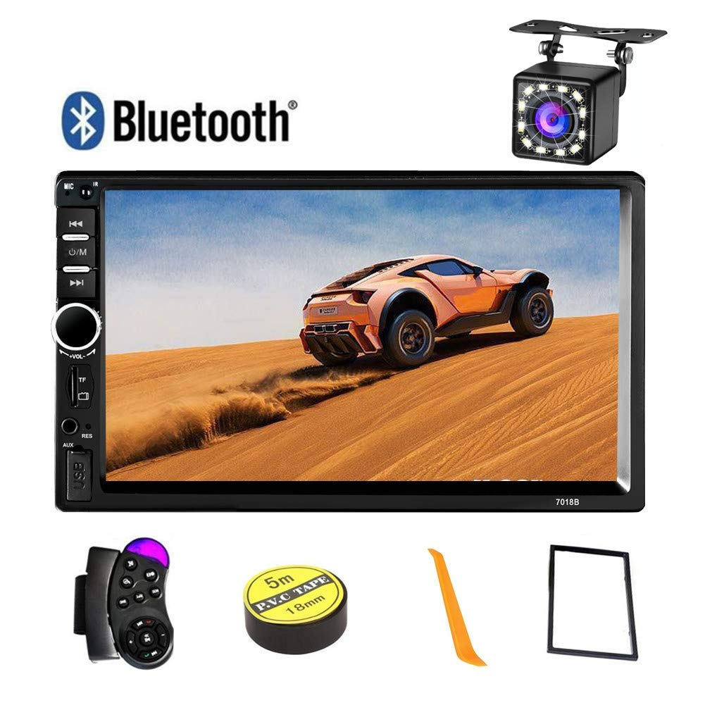 Car Stereo 2 Din,7 inch Touch Screen MP5 /MP4/MP3 Multimedia Player,Bluetooth Audio,Car Stereo Receivers,FM Radio,USB/SD/AUX Input,Mirror Link,Support Steering Wheel Remote Control,Rear View Camera