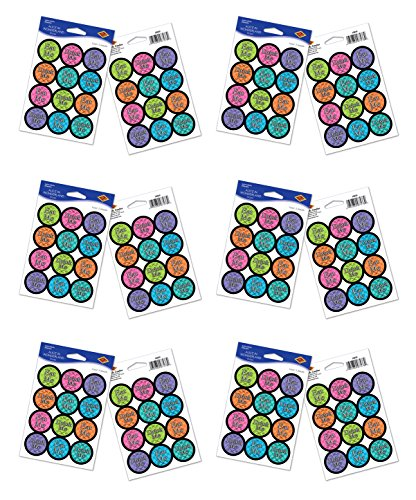 Beistle 59929, Alice in Wonderland Stickers, 12 Sheets Included, Multicolored