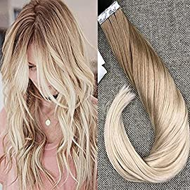 Full Shine 18 inch 100% Real Human Hair Extensions Ombre Balayage Hair Color 4 Fading to 18 Glue in Hair Extensions 50gram 20Pcs Per Package