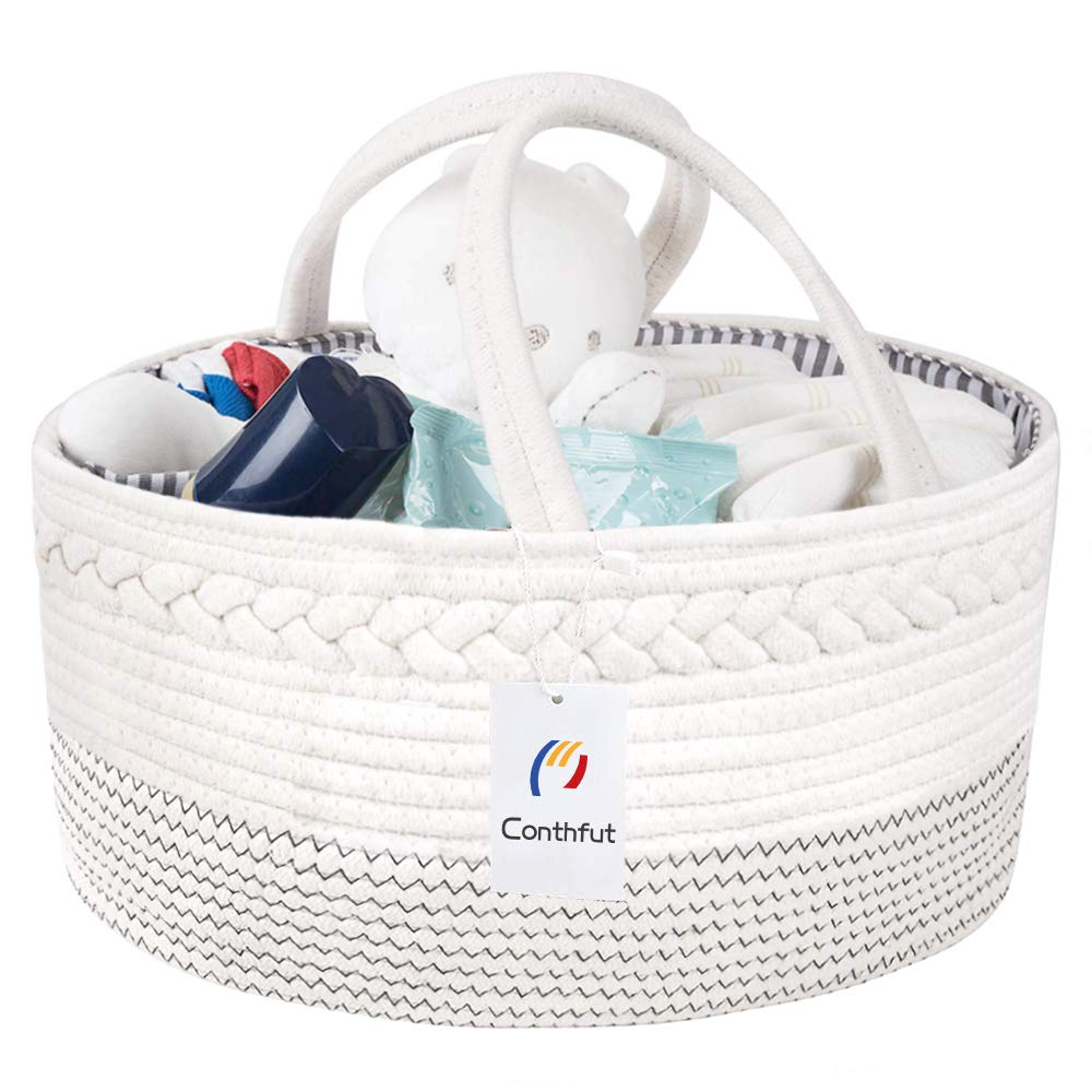 Conthfut Baby Diaper Caddy Organizer Handmade 100/% Cotton Rope Nursery Storage Bin for Boys and Girls Large Tote Bag /& Car Organizer with Removable Inserts Baby Shower Gift Basket