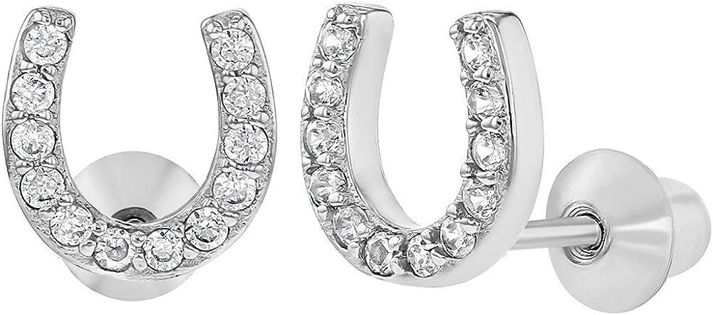Boucles doreilles Tiges poussettes s/écurit/é /à vis Zircone Cubique Argent 925//1000 Filles In Season Jewelry