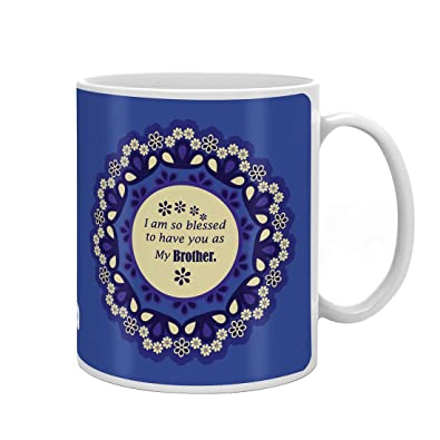 Indi ts Rakshabandhan Gifts For Brother Bless To Have Bhaiya Quote Printed Gift Set Mug 330 Ml Crystal Rakhi Roli & Greeting Card