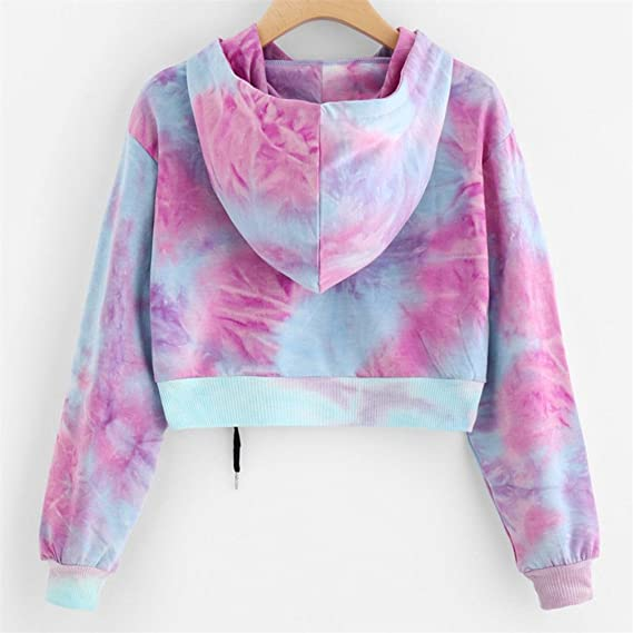 Chic-Dona Ladies Hooded Candy Colors diffusion Solid Crop Top Sweatshirt Sexy Pullover Female Sweatshirts Womens Tracksuits at Amazon Womens Clothing ...