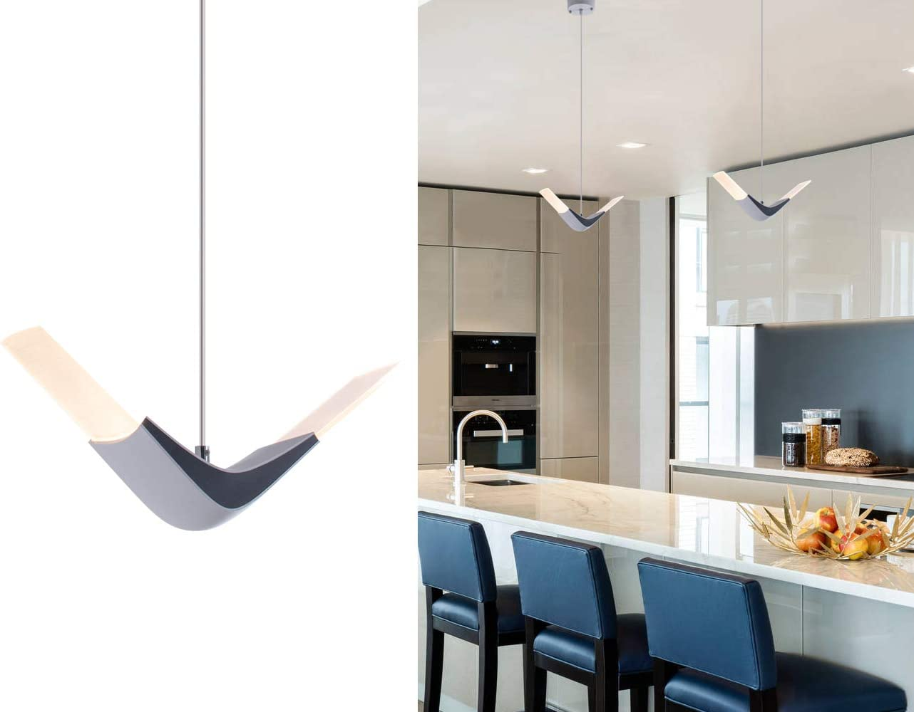 Modern LED Island Pendant Light Mini Contemporary Hanging Chandelier with Acrylic Shape for Kitchen Island Living Dining Room Bedroom by Bewamf
