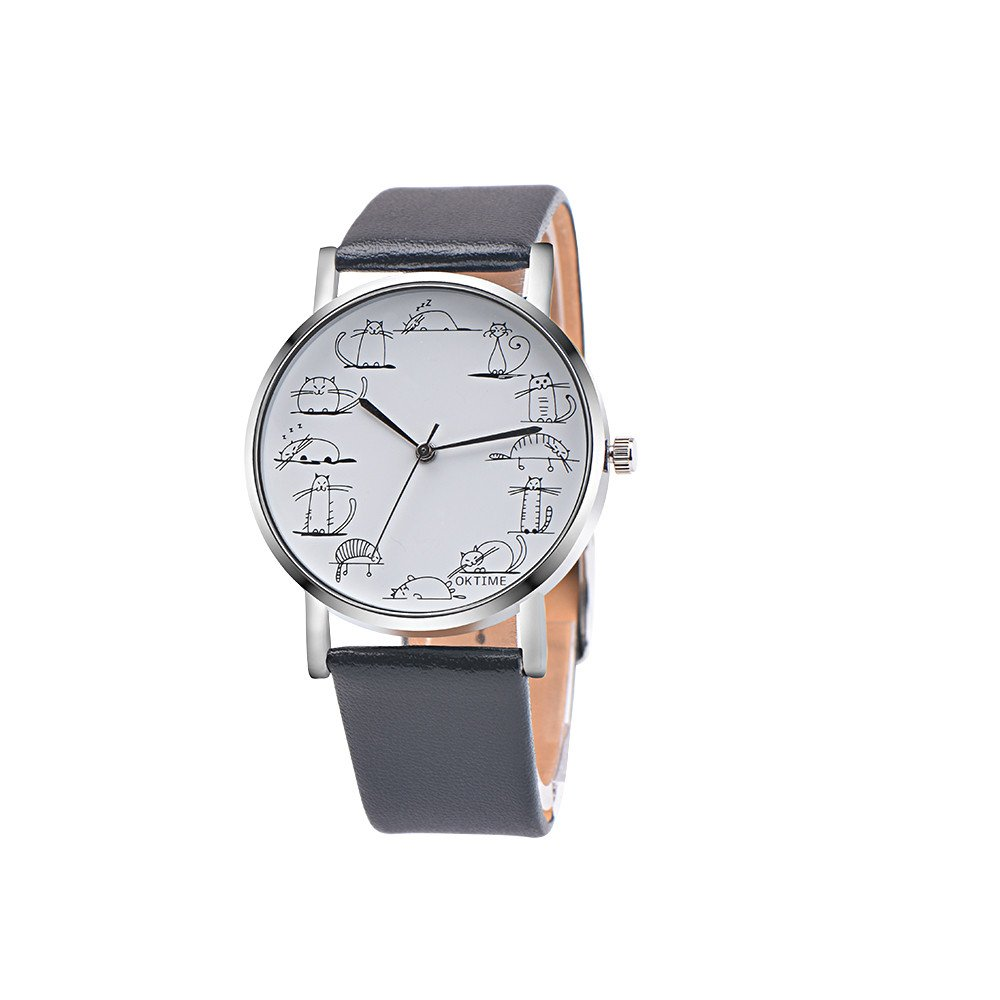 Men's Quartz Watch On Sale,Clearance Unisex Lovely Cartoon Watch,Wugeshangmao Boy's Fashion Retro Design Analog Sport Wrist Watch Business Casual Watches Gift,Round Dial Case Leather Band Watches
