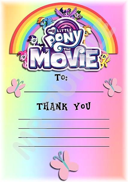 My Little Pony – La película gracias por venir fiesta de cumpleaños tarjetas – Vertical diseño de arco iris – fiesta suministros/accesorios (Pack de 12 A6 tarjetas de agradecimiento) WITHOUT Envelopes: Amazon.es: