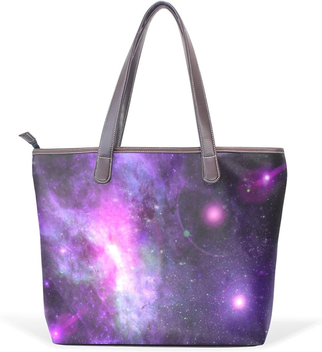 Sunlome Galaxy Starry Space Universe Pattern Handbags For Women Girls PU Leather Shoulder Tote Bag