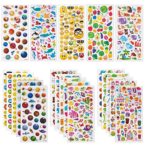 Pack Scrapbooking Stickers - SAVITA 3D Stickers for Kids & Toddlers 20 Sheets 1200+ Puffy Stickers Variety Pack for Scrapbooking Bullet Journal Including Animal, Fruits, Planets, Cute Facial Expressions,Cakes,Deep Sea Life