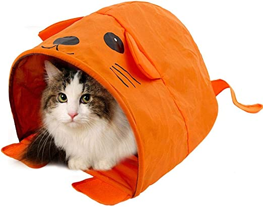 Túneles Para Gatos Artículos Para Gatos Tubos Y Túneles Para Animales Pequeños Pet Cat Toys Cute Mouse Design Cat Tunnels Pet Toy Más Diversión Carpa De Color Naranja Casa Fácil Para Mascotas: