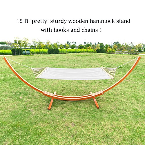 OnCloud 15 ft Wooden Arc Hammock Stand with Chains and Hooks