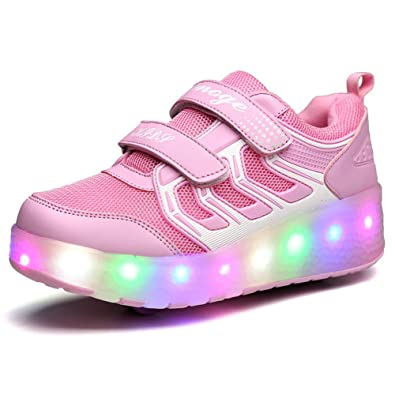 Boys Girls Light up Roller Shoes With 2 wheels Skate Sneakers For Kids Youth