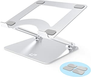 Laptop Stand, LP Computer Stand, Aluminum Alloy Multi-Angle Adjustable Laptop Holder for Desk Ergonomic Notebook Riser with Heat-Vent, Compatible for Macbook, All Laptops & Tablets for up to 17 inches