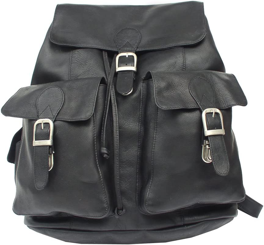 Piel Leather Large Buckle-Flap Backpack, Black, One Size