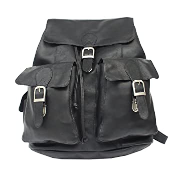 Amazon.com   Piel Leather Large Buckle-Flap Backpack, Black, One Size    Casual Daypacks a00a7445c0