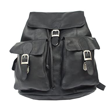 Amazon.com | Piel Leather Large Buckle-Flap Backpack, Black ...