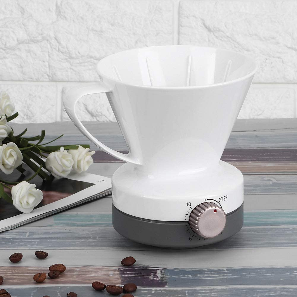 Fdit Pour Over Coffee Dripper with Timing Function Slow Drip Coffee Filter White Reusable Coffee Maker for Family Coffee Shop and West Restaurant