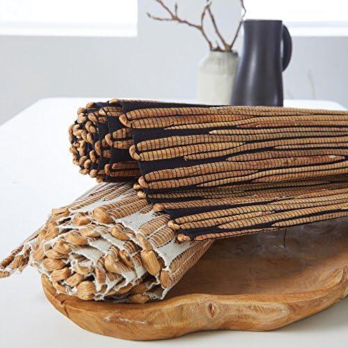 Madura Chemin de Table Malaka Coton Bio Blanc et naturel 45 x 150 x cm