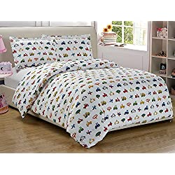 Fancy Collection 4pc Full Size Sheet Set Boys/Teens White Red Yellow Black Green Blue Vehicles Tractors Construction Police Cars Trucks New #Trucks White
