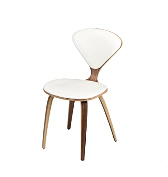Satine Dining Chair In American Walnut And White Leather By Nuevo