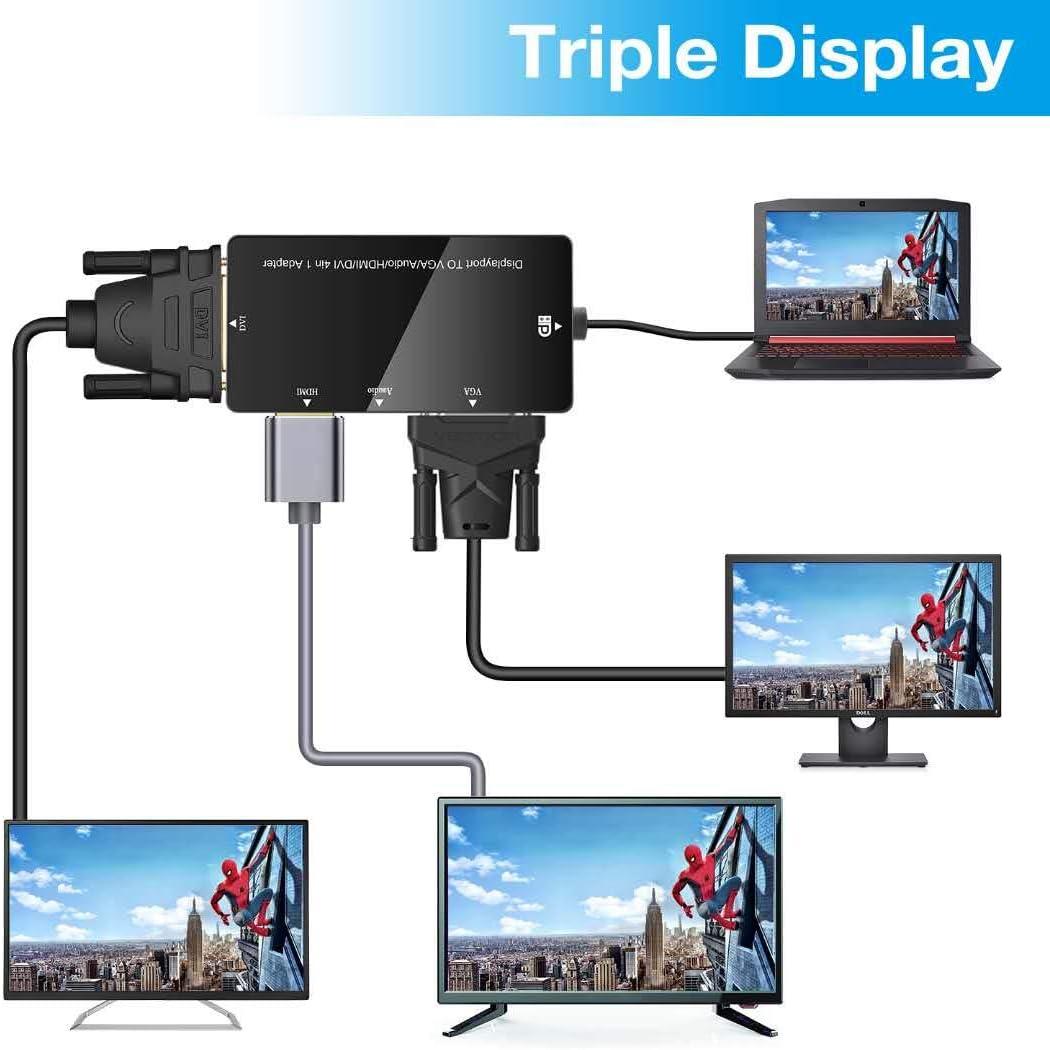 Adaptateur DisplayPort 4Kx2K UHD Convertisseur Adaptateur Mutiports 3 en 1 DisplayPort vers HDMI DVI VGA M/âle /à Femelle Adaptateur pour Ordinateurs Portables HDTV ou Vid/éo Projecteur Noir