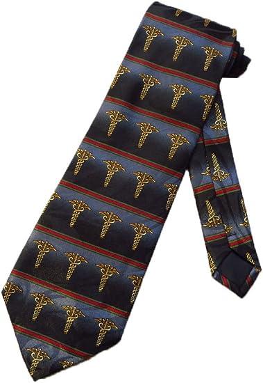 Caduceus Mens Neck Tie Medical Doctor Physician Nurse Dr Gift Black Necktie
