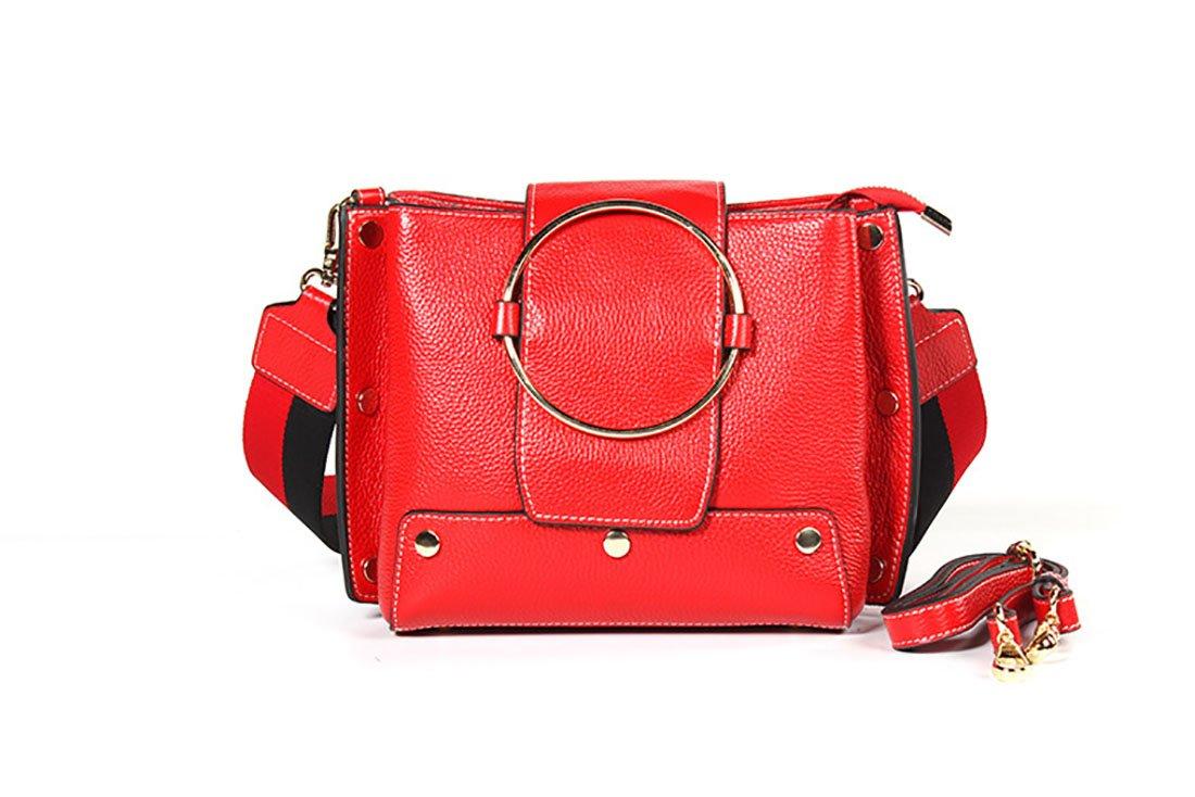 レザーハンドバッグファッションワイルドレディースショルダーバッグカジュアルな対角線バッグリングバッグ (色 : 赤) B07FXR5B8Q 赤