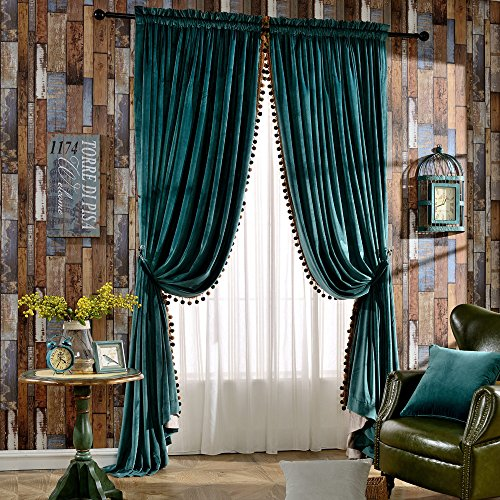 (Melodieux Set of 2 Pom Pom Velvet Blackout Lined Thermal Insulated Rod Pocket Curtains for Bedroom, 52x96 Inch, Antique Green (1)