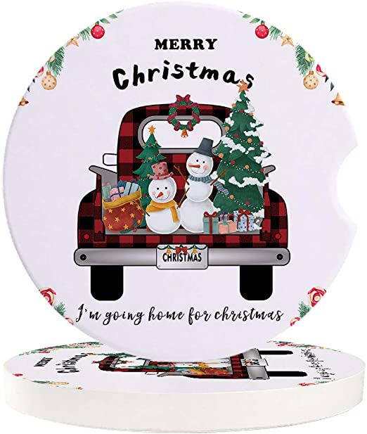 Amazon Com Christmas Tree Gift Snowman Car Coasters For Drink Set Of 6 Pack Absorbent Stone Coaster Cup Holder Perfect For Women Men Car Accessories Black And Red Farm Truck Coasters