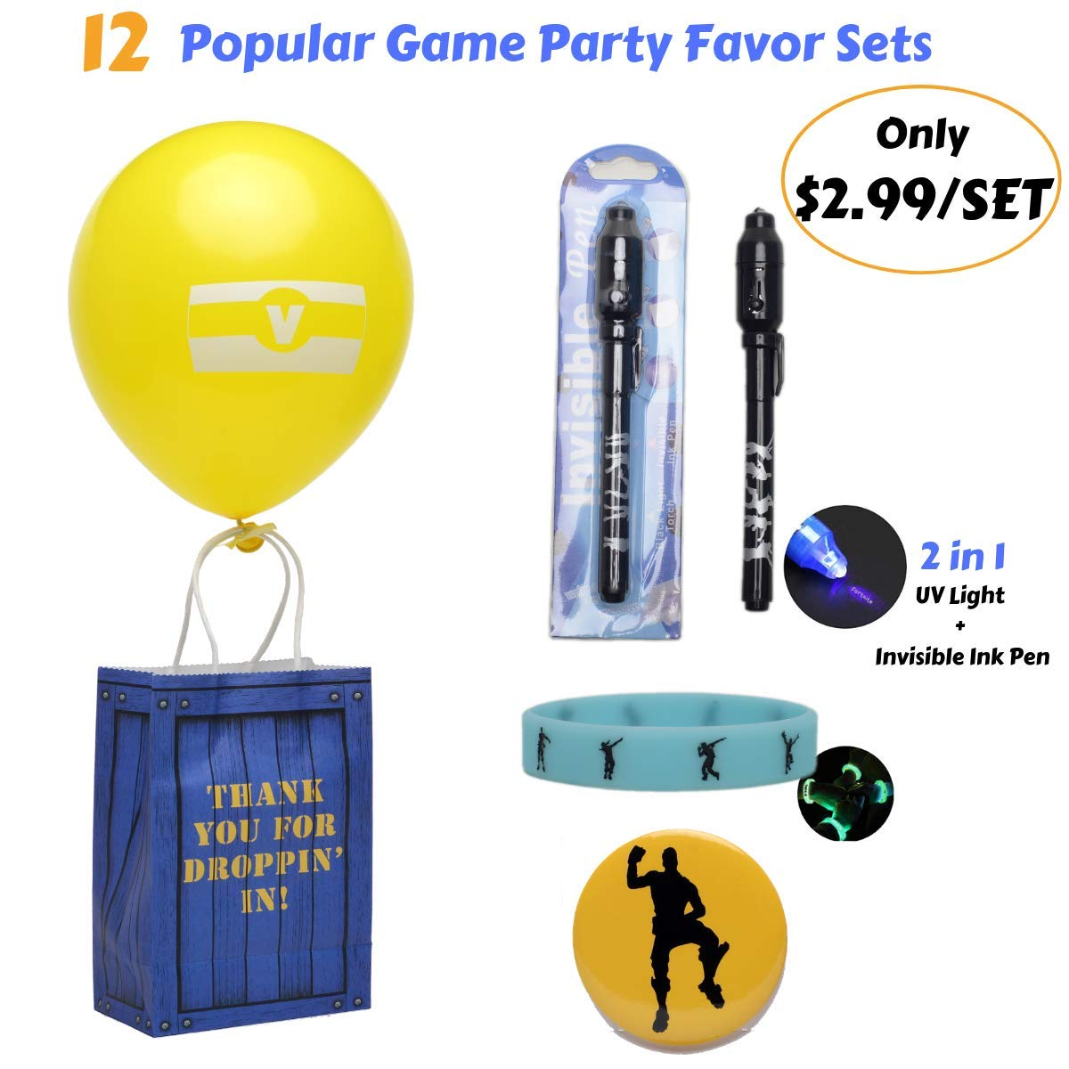 Game Birthday Party Supplies for boys-Birthday Party Favors -12 Sets-12 Invisible Disappearing Ink Pens with UV Light -12 Glow In the Dark Bracelets 13 Button Pins -Birthday Party Supplies Decorations