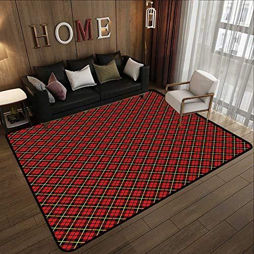Bath Rugs for Bathroom Non Slip,Geometric,Traditional Scottish Plaid Pattern Tartan Tile Checked Striped Retro Print,Red Black Yellow 63