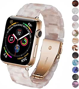 Miimall Compatible Apple Watch 38mm 40mm Resin Band Women Men Bracelet Stainless Steel Buckle Band Strap for Apple Watch SE Series 6 Series 5 Series 4 Series 3/2/1 38mm 40mm(Flower Pink)