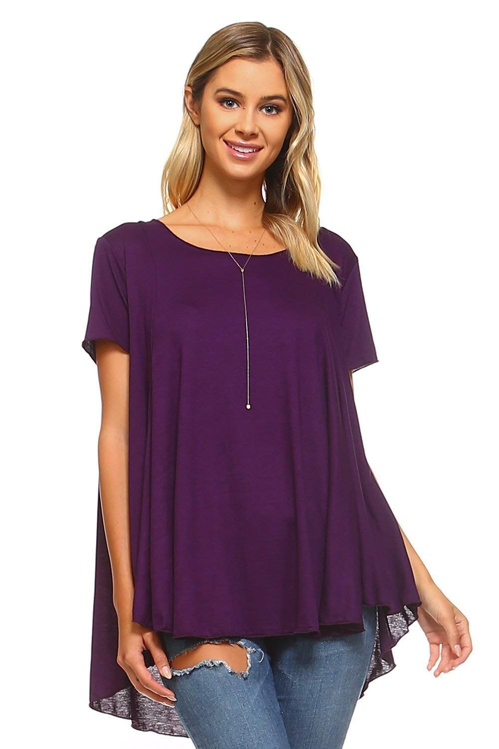 fd94a063f05 Top9  Simplicitie Women s Plus Size Short Sleeve Loose Fit Flare Flowy T  Shirt Tunic Top - Purple
