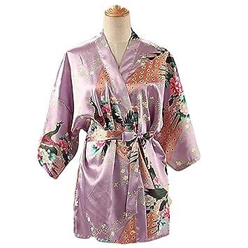 Lila - Mujer Pijamas de Tela de Seda imitada Albornoz Corto Bata de Kimono Pavo Real/Flores: Amazon.es: Hogar