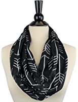 Pop Fashion Womens Arrow Pattern Infinity Scarf Wrap Scarf with White Zipper Pocket, Infinity Scarves, Travel Scarf, Best Black Friday and Cyber Monday Deals